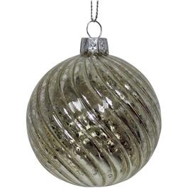 70mm Glass Silver Swirl Ornament thumb