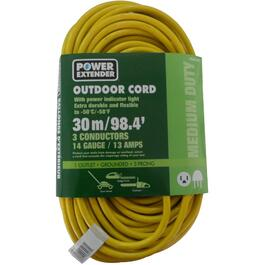 30M 1 Outlet SJTW 14/3 Yellow Extension Cord thumb