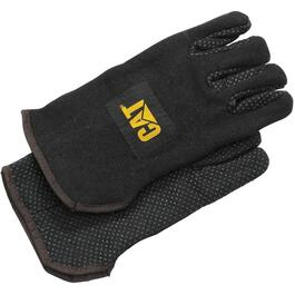 Men's Large Heavy Black Jersey Lined Work Gloves thumb