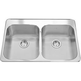 "31-1/4"" x 20-1/2"" x 7"" Double Stainless Steel 1 Hole Kitchen Sink thumb"
