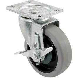 "4"" Grey Thermoplastic Rubber Wheel Swivel Plate Caster, with Brake thumb"