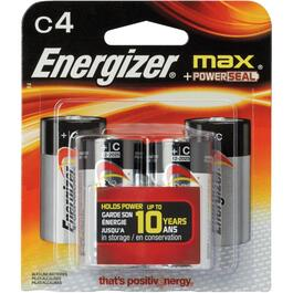 4 Pack Max Alkaline C Batteries thumb