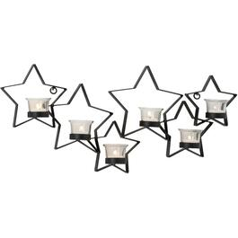 "24"" x 12"" Metal Wall 6 Stars Candle Holder thumb"