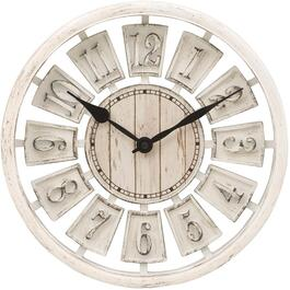 "12"" White Distressed Round Wall Clock thumb"