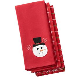 3 Pack Red Snowman Tea Towels, Assorted Designs thumb