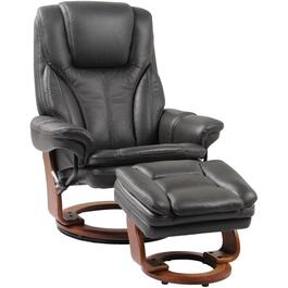 Charcoal Grey Leather Match Hana Recliner, with Storage Ottoman thumb