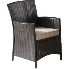 Dark Brown Montauk Deluxe Wicker Dining Chair thumb