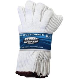 6 Pairs Men's White Polyester Cotton Knit Work Gloves thumb