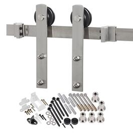 6.5' Flat Stainless Steel Door Track Kit, with Brackets thumb