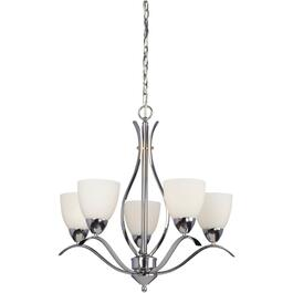Astro 5 Light Chrome Chandelier Light Fixture with White Glass thumb