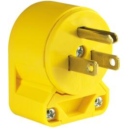 3 Wire 15 Amp 125V Yellow Angle Electrical Plug thumb
