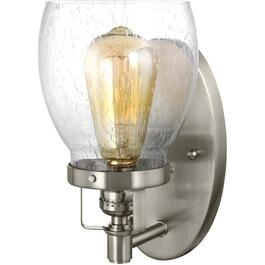 Belton 1 Light Brushed Nickel Wall Light Fixture, with Seeded Glass thumb