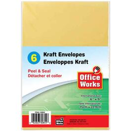 "6 Pack 6"" x 9"" Kraft Peel and Stick Envelopes thumb"