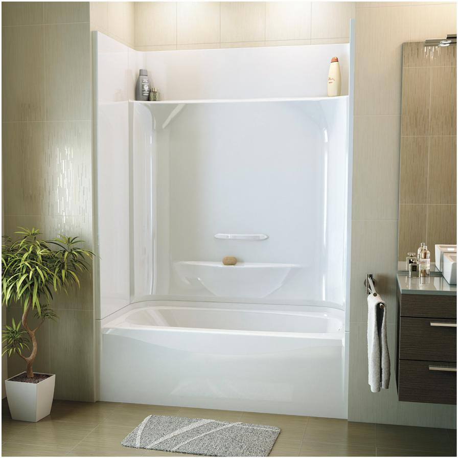 maax essence 4 piece white fibreglass right hand tub and shower less