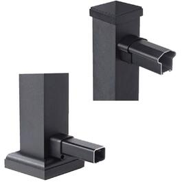 Black Aluminum Top and Bottom Rail End Bracket thumb