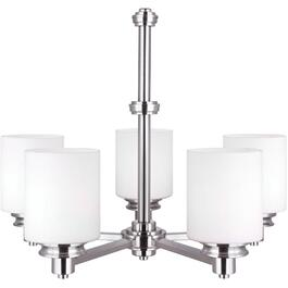 Crawford 5 Light Brushed Nickel Chandelier Light Fixture with Flat Opal Glass thumb