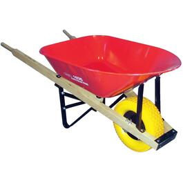 6 Cu. Ft Steel Tray Big Wheel Contractor Wheelbarrow, with Flat Free Tire thumb