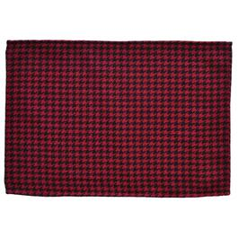 "19"" x 13"" Red and Black Houndstooth Polyester Centrepiece Mat thumb"