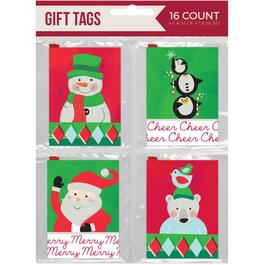 16 Pack Mini Fold Christmas Gift Tags, Assorted Designs thumb