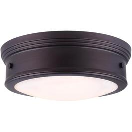 "Boku 13"" Oil Rubbed Bronze Flush Light Fixture with Flat Opal Glass thumb"