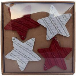 4 Pack Red and White Resin Knit Star Ornaments thumb