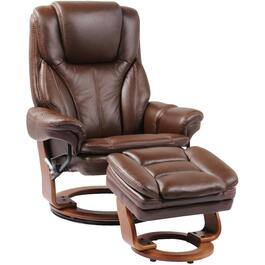 Chocolate Brown Leather Match Hana Recliner, with Storage Ottoman thumb
