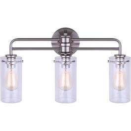 Albany 3 Light Brushed Nickel Vanity Light Fixture, with Seeded Glass Shade thumb