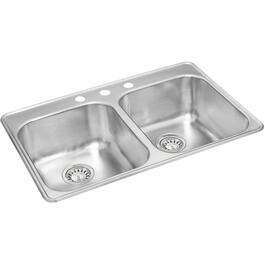"31"" x 20"" x 9"" Double Stainless Steel 3 Hole Kitchen Sink, with Ledge thumb"