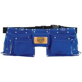 11 Pocket Blue Leather Carpenters Waist Apron thumb