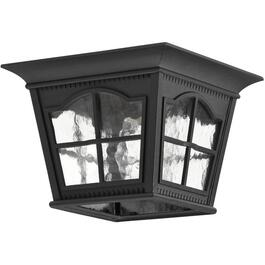 Black Outdoor Flushmount Ceiling Light Fixture with Clear Water Glass thumb