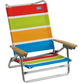 5 Position Stripes Pattern Aluminum Beach Chair thumb