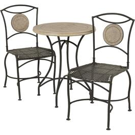 3 Piece Grey Stone Top Bistro Set thumb