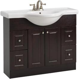 "39"" x 12"" 2 Door 4 Drawer Espresso Vanity with China Top thumb"