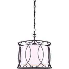 "14"" 1 Light Oil Rubbed Bronze Monica Pendant Light Fixture with Fabric Shade thumb"