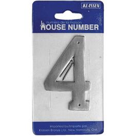 "3.5"" Antique Nickel Nail-On '4' House Number thumb"