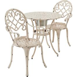 3 Piece Antique White Cast Aluminum Bistro Set, with Ice Bucket thumb