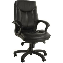 Black Leather Office Chair, with Lumbar Support thumb