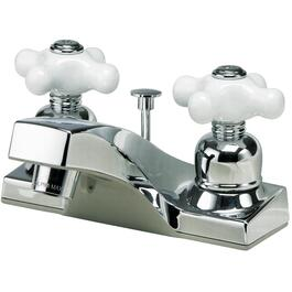 Chrome Lavatory Faucet, with Porcelain Cross Handles thumb