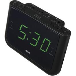 2 Alarm Black Clock Radio, with USB Charging Port thumb