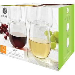 12 Pack 16-3/4oz Wine Stemless Stemware Set thumb