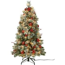 4.5' Decorated Flocked Fairfield Christmas Tree, with 250 Clear Lights thumb