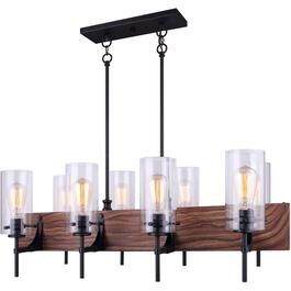 Arlie 8 Light Matte Black and Brown Faux Wood Chandelier Light Fixture thumb