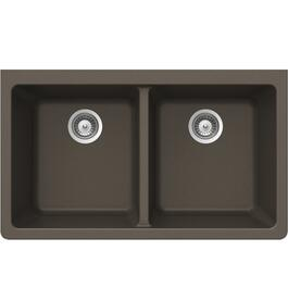 "33"" x 18 1/2"" x 9 1/2"" Bronze Double Granite Undermount Sink thumb"