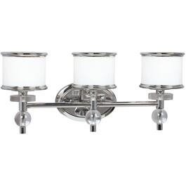 Orion 3 Light Chrome Vanity Light with White Glass thumb