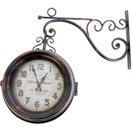 2 Sided Indoor/Outdoor Wall Clock, With Thermometer thumb