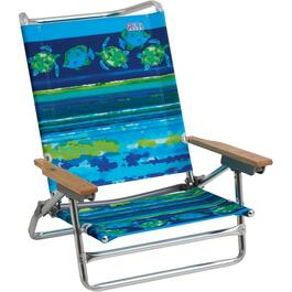 5 Position Fish Pattern Aluminum Beach Chair thumb