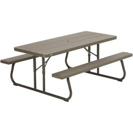 6' Woodgrain Folding Picnic Table thumb