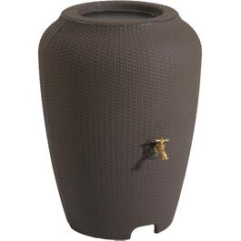 50Gal Chocolate Mocha Wicker Rain Barrel thumb