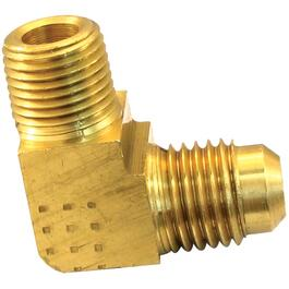 "1/4"" Flare x 1/4"" Male Pipe Thread Brass 90 Degree Elbow thumb"
