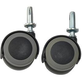 "2 Pack 2"" Grey Tread Twin Wheel Swivel Stem Casters thumb"